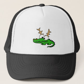 Funny Alligator with Antlers Christmas Art Trucker Hat