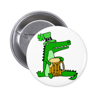 Funny Alligator with Beer St. Patrick's Day Art 2 Inch Round Button