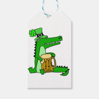 Funny Alligator with Beer St. Patrick's Day Art Gift Tags