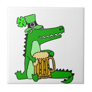 Funny Alligator with Beer St. Patrick's Day Art Tile