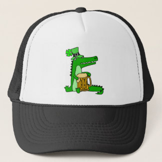 Funny Alligator with Beer St. Patrick's Day Art Trucker Hat
