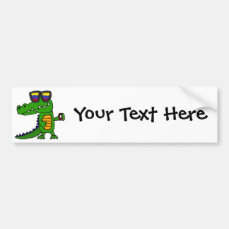 Funny Alligator with Cell Phone Bumper Sticker