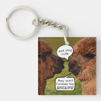 Funny Alpaca Alpacalypse Scheming Keychain