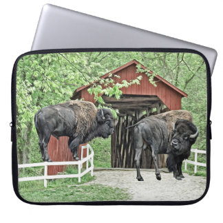 Funny American Bison At The Covered Bridge Laptop Sleeve