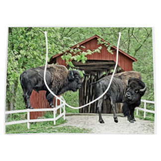 Funny American Bison At The Covered Bridge Large Gift Bag