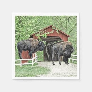 Funny American Bison At The Covered Bridge Paper Napkin