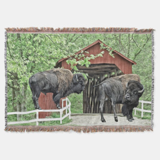Funny American Bison At The Covered Bridge Throw Blanket
