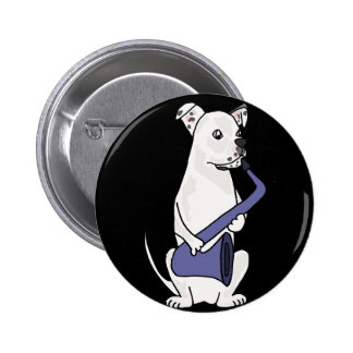 Funny American Bulldog Playing Saxophone 2 Inch Round Button