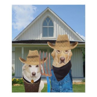 Funny American Gothic Lab Poster