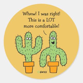 Funny American Southwest Cactus Cartoon Round Sticker