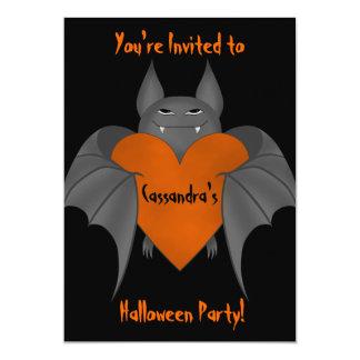 "Funny amorous Halloween vampire bat 5"" X 7"" Invitation Card"