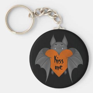 Funny amorous Halloween vampire bat Basic Round Button Keychain