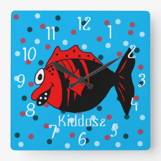Funny and cute black and red fantasy fish square wall clock