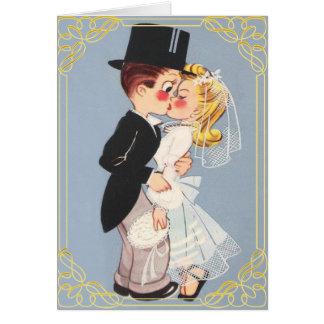 Funny and cute cartoon wedding couple card