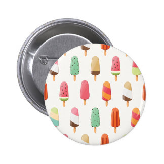 Funny and cute colored ice creams pattern 2 inch round button