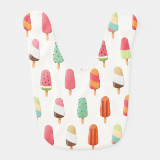 Funny and cute colored ice creams pattern bib