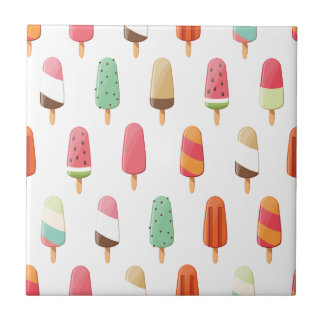 Funny and cute colored ice creams pattern tile