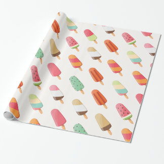 Funny and cute colored ice creams pattern wrapping paper