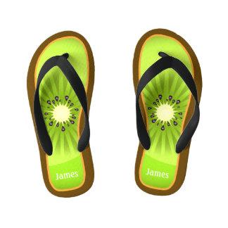 Funny and Cute Kiwi Slice Custom Name Kid's Flip Flops