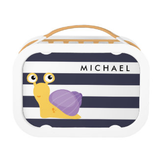 Funny and cute snail on a horizontal stripes lunch boxes