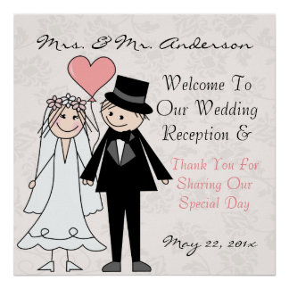 Funny and cute wedding welcome poster