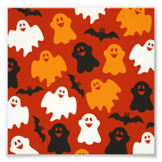 Funny and Spooky Halloween Ghost Pattern on Brown Photo