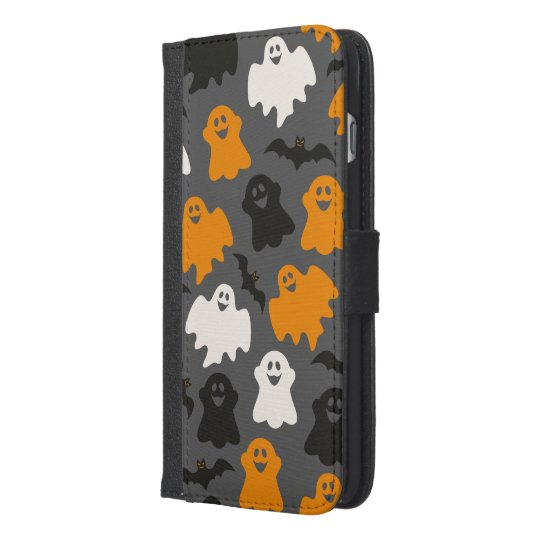 Funny and Spooky Halloween Ghost Pattern on Grey