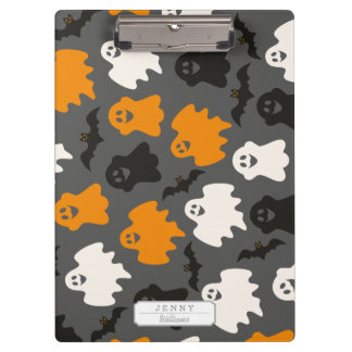 Funny and Spooky Halloween Ghost Pattern on Grey Clipboard