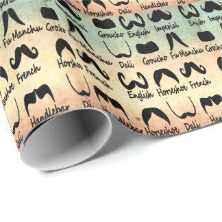 FUNNY AND TRENDY  MOUSTACHES WRAPPING PAPER