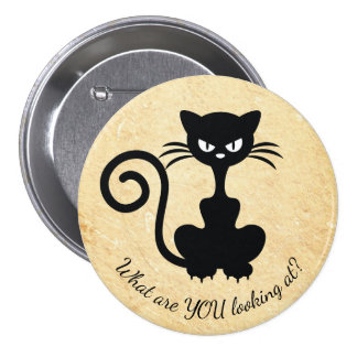 Funny Angry Cat Custom Text Typography 3 Inch Round Button