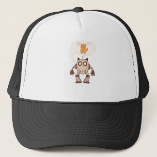Funny Angry Neon Cat With Gamepad Controller Trucker Hat