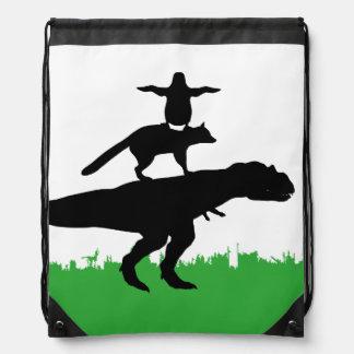 funny animal dinosaur fox penguin pyramid drawstring bag