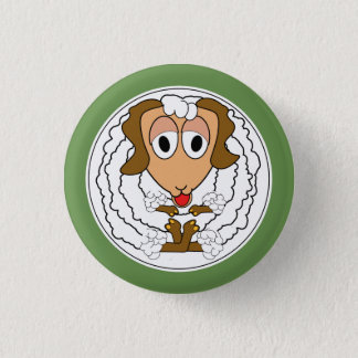Funny animal, ewe 1 inch round button