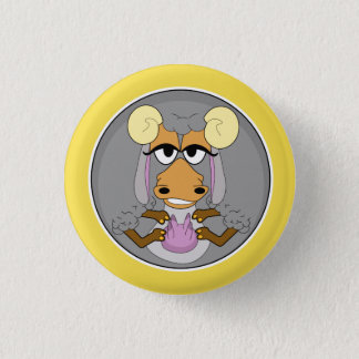 Funny animal, goat 1 inch round button