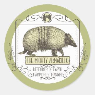 Funny animal Mighty Armadillo vintage superhero Round Sticker