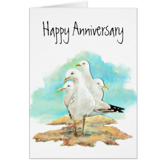 Funny Anniversary, From Group of Seagulls, birds Card