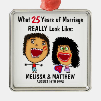 Funny Anniversary Quote with Cartoon Metal Ornament