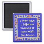 funny anti-cook art square magnet