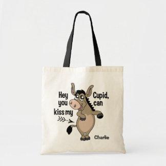 Funny Anti-Valentine Donkey custom name tote bags
