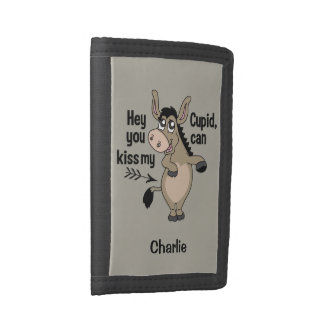 Funny Anti-Valentine Donkey custom name wallets
