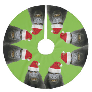 Funny Apes in Santa Hats Brushed Polyester Tree Skirt