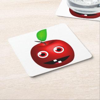 Funny Apple For Teacher Square Paper Coaster