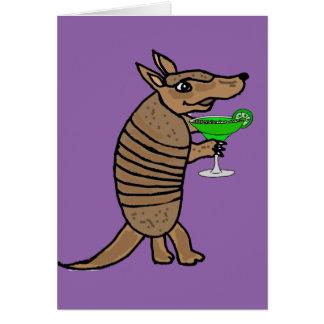 Funny Armadillo Drinking Margarita Art Card
