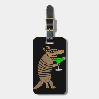 Funny Armadillo Drinking Margarita Art Luggage Tag