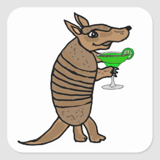 Funny Armadillo Drinking Margarita Art Square Sticker