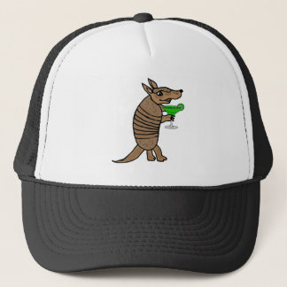 Funny Armadillo Drinking Margarita Art Trucker Hat