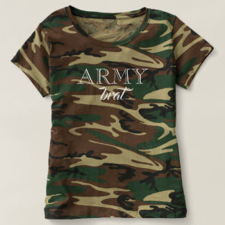 Funny Army Brat Camouflage Tshirt Green Brown