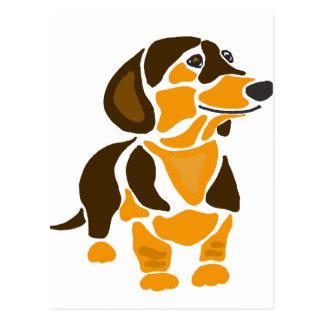 Funny Artistic Dachshund Dog Art Postcard