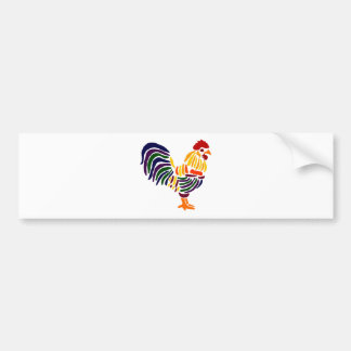 Funny Artistic Rooster Bumper Sticker