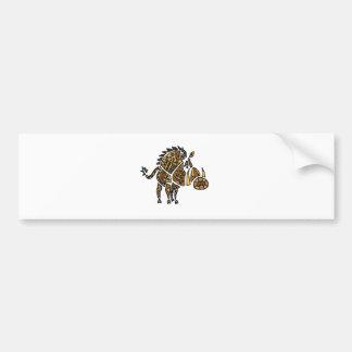 Funny Artistic Warthog Abstract Art Bumper Sticker